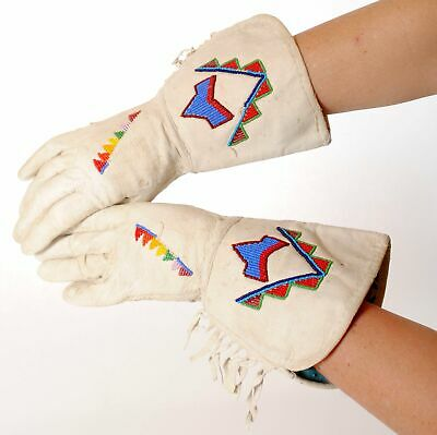 Vintage Sioux Indian Gauntlet Beaded Gloves Native American ca. 1890
