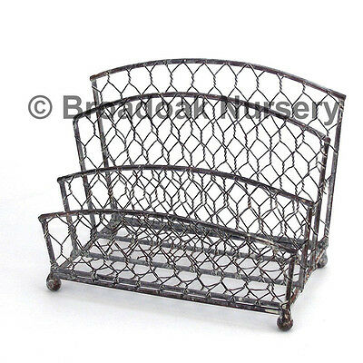 Rustic Metal Wire Mesh Letter Rack, Vintage, Traditional Letter Holder
