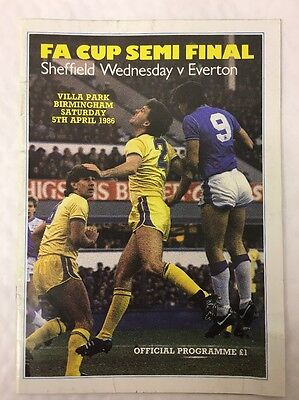 Sheffield Wednesday Vs Everton FA Cup Semi Final Football Programme From 1986