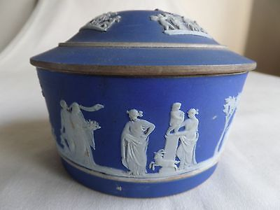Antique Wedgwood Blue Jasperware Dish And Cover A/f