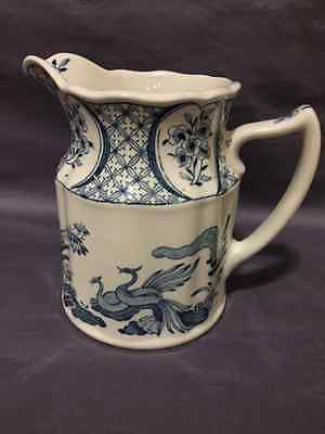 Vintage Porcelain White and Blue Old Chelsea Pitcher (England)