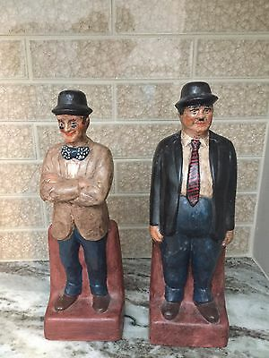 "Laurel And Hardy Plaster Statues 10"" Tall"