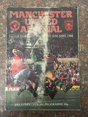 Manchester United Vs Arsenal FA Cup Semi Final Football Programme From 1983