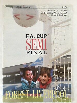 Nottingham Forest Vs Liverpool FA Cup Semi Final Football Programme From 1988