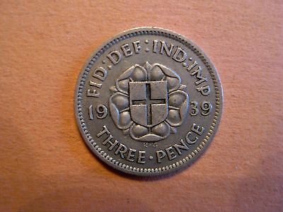 Great Britain 3 Pence 1939 King George VI SILVER