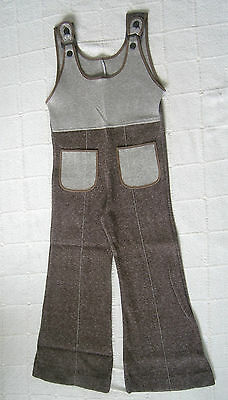 Vintage Stretch Dungarees - Age 5-110 cm - Brown Marl - Ring & Buttons - New