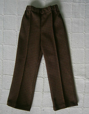 Vintage Stretch Trousers - Age 2 - Brown/Black Check - Elastic Waist - New