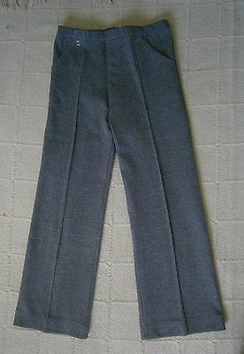 Vintage Stretch Trousers - Age 6-116 cm - Grey Marl - Zip Front - New