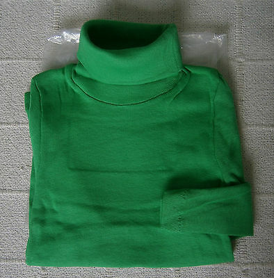 Vintage Stretch Polo-Neck Top - Age 8 - Green  - 100% Cotton - New