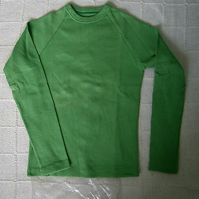 Vintage Stretch Long-sleeved Top - Age 14 - Green - Cotton/Nylon - New