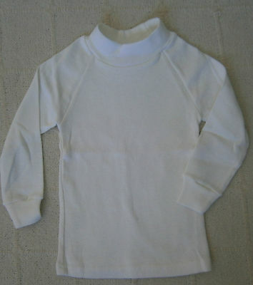 Vintage Baby Long Sleeve Stretch Top - Age 0-1 - White Ribbed 100% Cotton - New