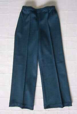 Vintage Stretch Trousers - Age 5 - Green/Black/Brown Check - Elastic Waist - New
