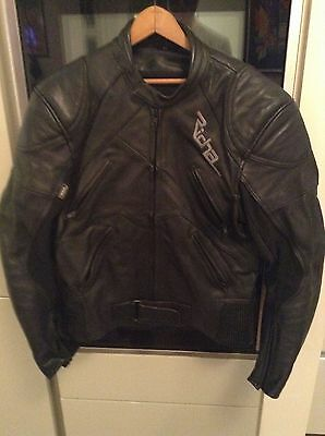 Richa two-piece leather mens motorcycle suit, jacket size 42, trousers size 34.