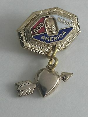 Vintage WWII ENAMEL Sweetheart Pin HOME FRONT Jewelry - Heart with Cupid's Arrow