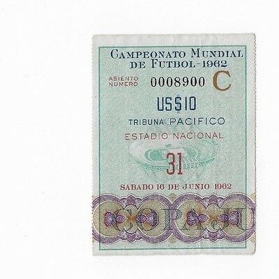 RARE original 1962 World Cup ticket: Chile v Yugoslavia: Santiago: 3rd place