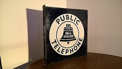 """Vintage Bell System Public Telephone Flange 2 Sided Sign 11"""" x 11"""" !"""