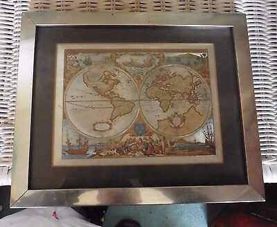 Print - Map of the World - 28 cms wide 23 cms high