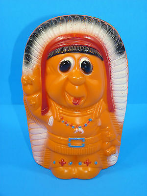 Vintage Reliable Canada Indian Chief Plastic Blowmold Piggy Bank Toy