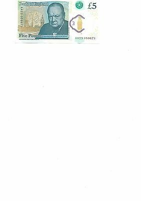 New  5 Pounds Note Serial # Aa....