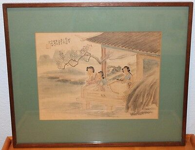 Old Antique Chinese Maidens Painting on Silk Framed Artist Signed