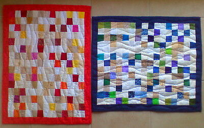Set of Modern handmade quilted Wall-hangings in warm and cool colors
