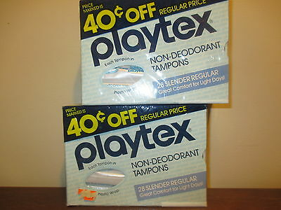 Vintage SEALED 2 BOXES of 28 PLAYTEX Regular non Deodorant Tampons RARE