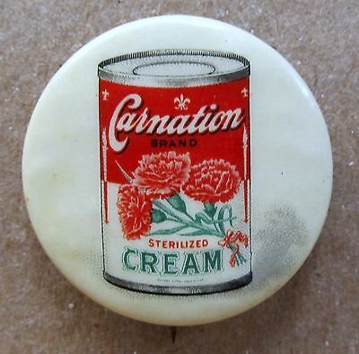 "rare 1890's CARNATION CREAM dairy 1.25"" celluloid pinback button w/ backpaper *"