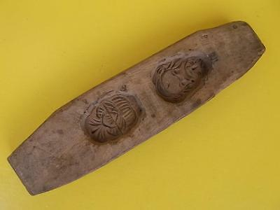 349 / Antique Hand Carved Wooden Chinese Moon Cake Mould Charactor Marks To Base