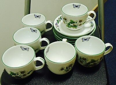 Royal Worcester 6 Tea Cups And Saucers -  Worcester Herbs Pattern