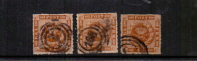 DENMARK 1863 4sk ROULETTES x 3 USED CAT £60