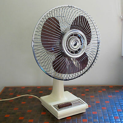 SeaBreeze 30cm Desk Fan in Chrome, Cream & Brown, 3-Speed, Oscillating, c.1970s
