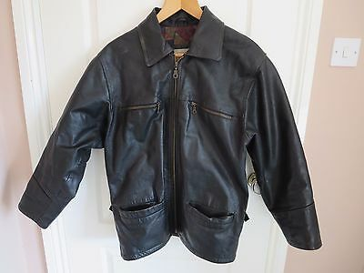 Black real leather jacket small - VEI classic collection (men or women) 1980s