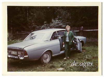 Vintage color Photo circa 1970s Woman with old car