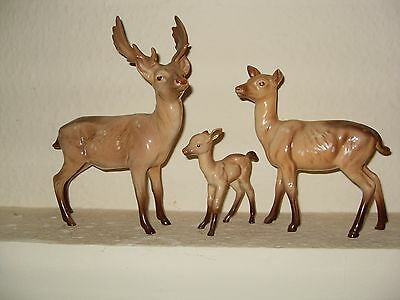 VINTAGE BESWICK Deer Family - Stag, Doe, Fawn,1970's,Perfect Condition.