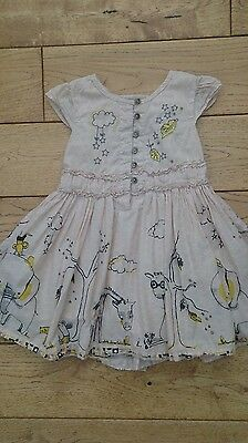 Girls Next Beige Lined Dress with Animals on age 12-18 months