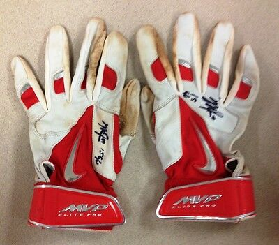 2015 Mike Trout Signed GAME USED pair Batting Gloves COA and matching holo L@@K
