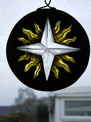 Stained Glass Star Handmade Vintage Victorian Medieval Style