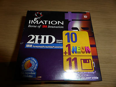 """10 x Imation 2HD 3.5"""" 1.44 MB diskettes IBM formatted + 1 NEON in sealed box"""