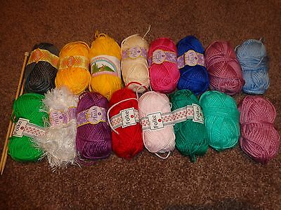 16 Small Balls Of D K Knitting Wool Yarn Mixed Colours Great For Arts & Crafts