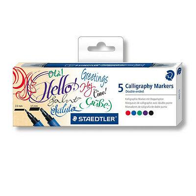 STAEDTLER Calligraphy Markers Calligraph Duo Double Ended 5 Color Set Chisel Tip