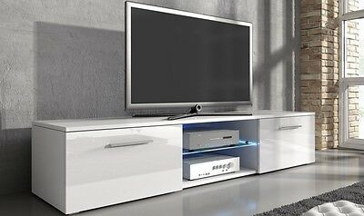 White Gloss TV Unit LED Lights Television Cabinet Remote Control 2 Door Large