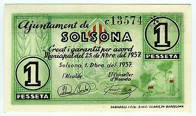 ☆ Spain Civil War 1937 • Solsona 1 Peseta • Local ☆ Guerra Civil Española ☆C2748