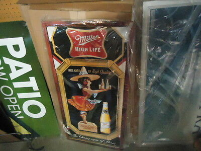 Beautiful Large Miller High Life Lady On The Moon Metal Beer Bar Sign Great Mint
