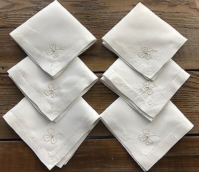 6 Vintage Creamy White Linen Embroidered Cocktail Napkins Hemstitched Shamrock?