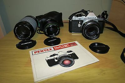 Pentax ME Super film camera with lens and additional lenses