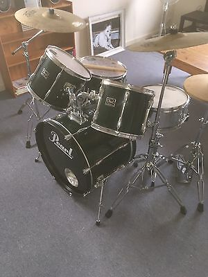Pearl Export Drum Kit With Premier Snare and Paiste Cymbals