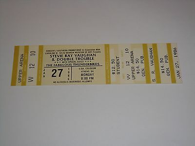 Stevie Ray Vaughan, Fabulous Thunderbirds 1986 Unused Concert Tour Ticket Usa