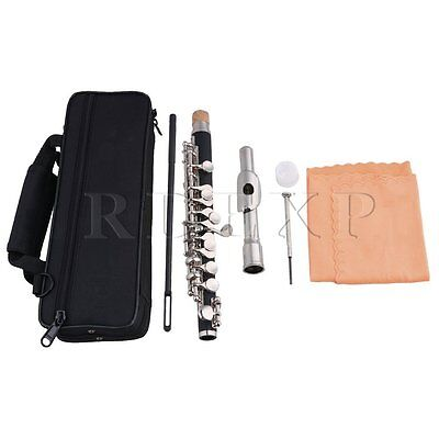 Silver Cupronickel Plated C Key Piccolo Bag,Joint Grease,Cleaning Cloth