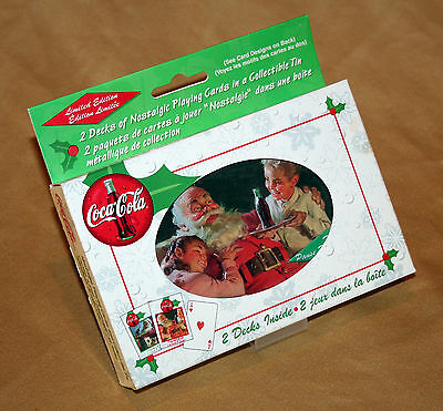 Coca-Cola - 2 decks of Playing Cards in Christmas Tin, Limited Edition 1999