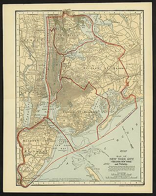 Vintage Street Map 1903 NEW YORK CITY: Richmond, Brooklyn, Queens, The Bronx